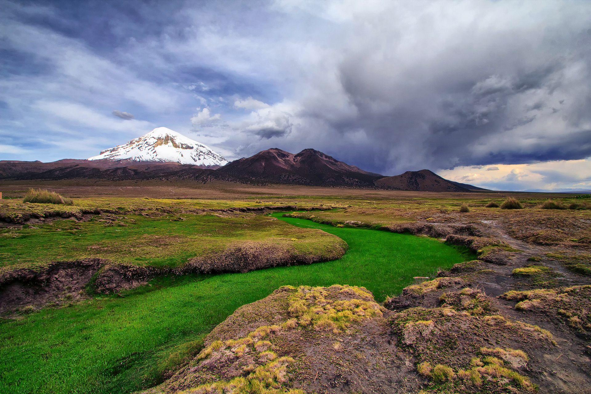 Green River filled with gras, Nevado Sajama, Oruro Department, Bolivia, landscape, huge clouds