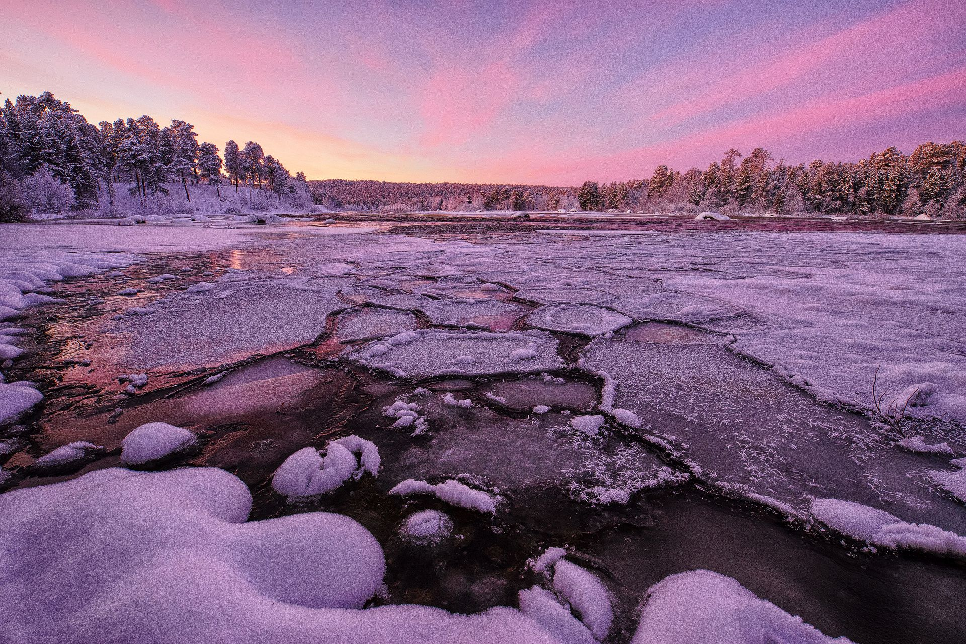 ice river, finland, lapland, finnish lapland, colorful sky, snow, trees, sunset, landscape, winter