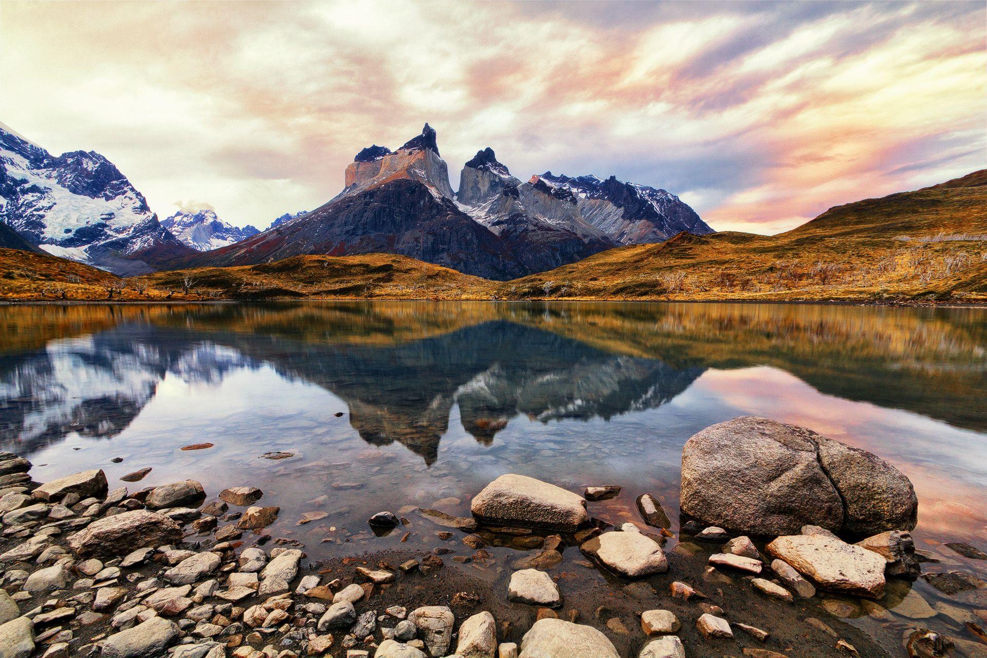 reflection, Lake Pehoé, sunset, mountains, colorful sky, cuernos del paine, Cordillera Paine,Torres del Paine National Park, Parque Nacional, Patagonia, Chile