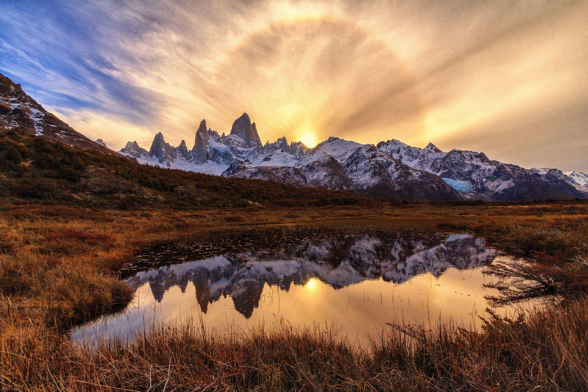 Cerro Fitz Roy, El Chalten, Argentina, Chile, Patagonia, Andes, Mountain, Sunset, Lake, Reflection, Landscape