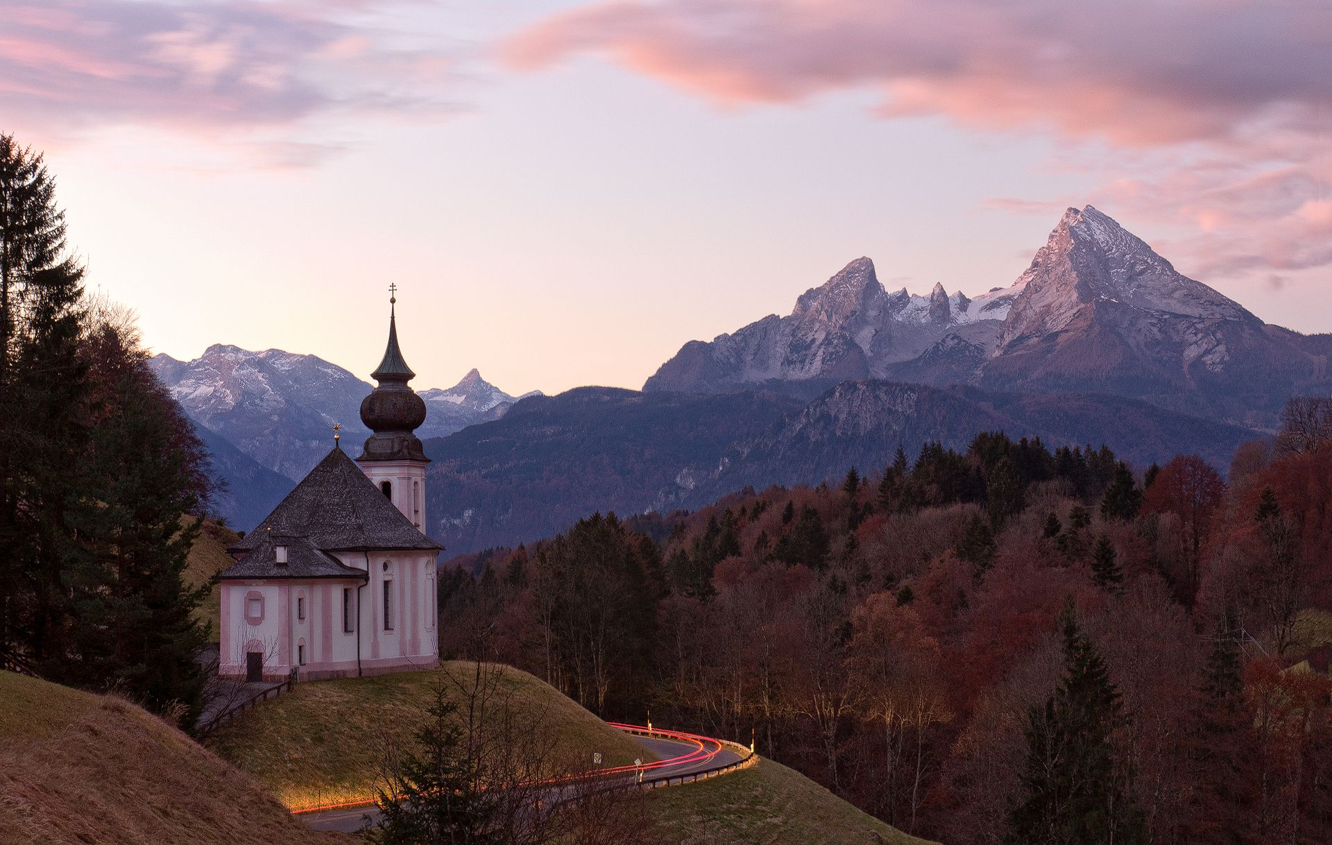 long exposure, car trail, light painting, Maria Gern (Church), Watzmann (Mountain), Bavarian Alps, Berchtesgaden, Germany