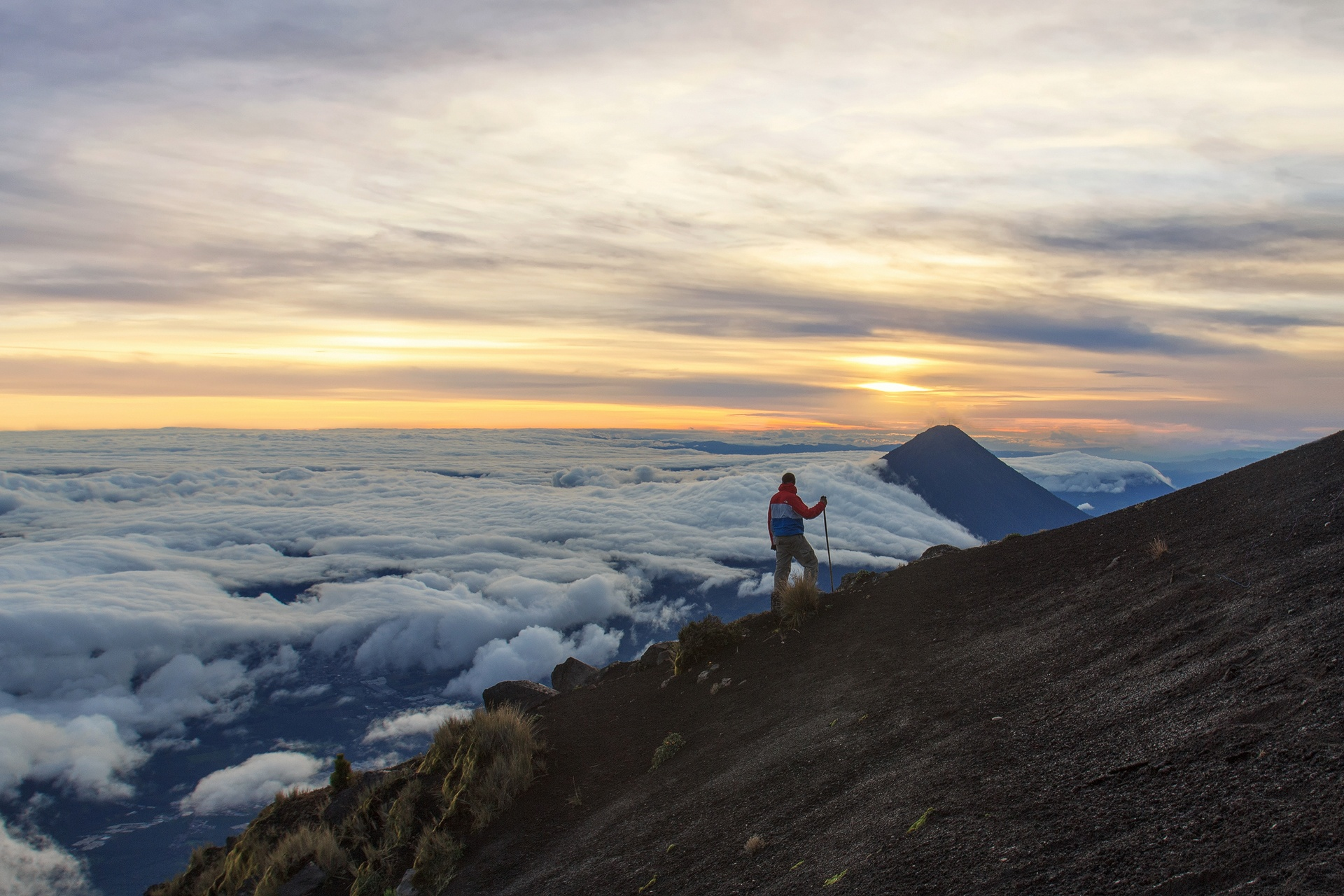 vulcan, volcano, vulkan, antigua, guatemala, agua, fuego, atacenango, hiking, adventure, clouds, sun, epic, trekking, majestic view,